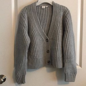 Gap light grey blue, waist length, cardigan
